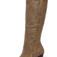 Hot and Edgy Taupe Knee High Heel Boots