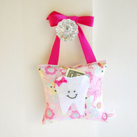 Girls Fairy Princess Tooth Fairy Pillow in Pink Sparkle Fabric