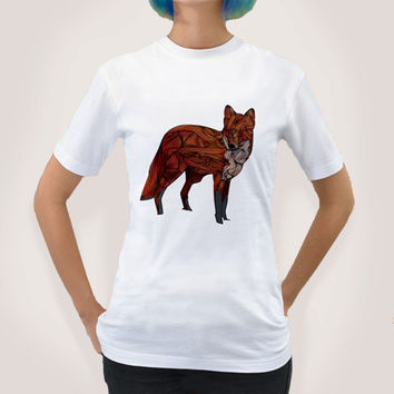 Red Fox T Shirt with Women's and Men's sizes, illustration, fox, red, abstract,art, drawing,animal