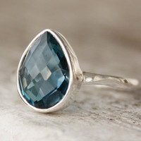 London Blue Topaz Ring - Sterling Silver - Teardrop - Stacking Ring