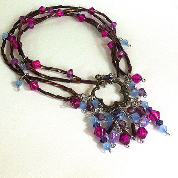 Brown purple and blue wrap anklet, boho anklet, cluster pendant, boho necklace, beaded anklet, layered necklace, gifts for her, on sale