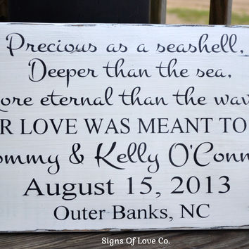 Precious As A Seashell Beach Wedding Sign Decor Personalized Wooden Plaque Nautical Decorations Gift