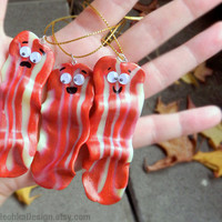Bacon Christmas Ornament, Cute and Funny, Hand Made of Polymer Clay, Geek Ornament