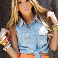 CROPPED DENIM TOP WITH PEARLS