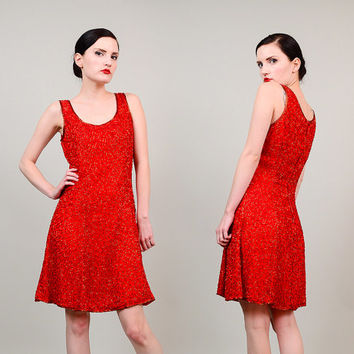 80s 90s Red Silk Beaded Tank Top 1980s Trophy Party Cocktail Flared Skirt Mini Dress Small XS S