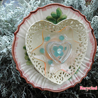 Lace Heart Glass Garden Flower Plate / Fine Art / Glass Art / Sculpture / Garden Yard Art