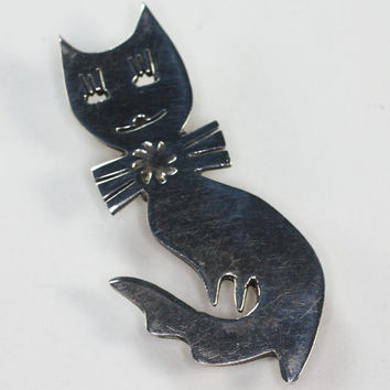 Sterling Cat with Bow Brooch Vintage Taxco Mexico