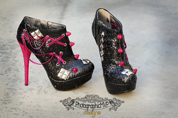 custom spike heels black and pink or from photographicmvp on