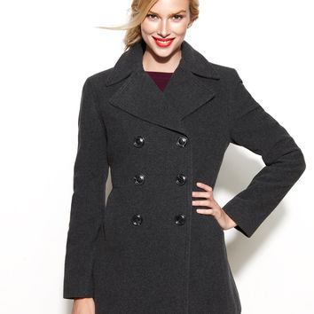 Kenneth Cole Reaction Double-Breasted Wool-Blend Pea Coat