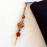 Macrame Zipper Pull, earth and sky color beads from Jan4insight