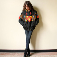 RESERVE 80s Tribal Puffer Coat - Navajo blanket motif nylon Southwestern ski jacket, black, yellow, red, blue & bronze with leather fringe