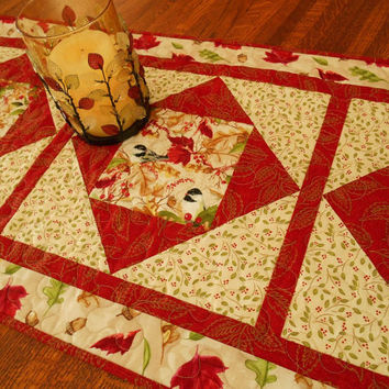 Quilted Table Runner for Fall Winter Christmas with Chickadees Leaves and Berries