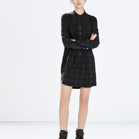 Long-sleeved check dress