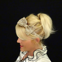 Cheetah print chiffon bow stretch headband retro/pinup/feminine