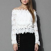 Whirling Off-shoulder Crochet Top in White White S/M
