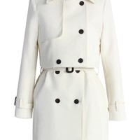Creamy Beige Double-breasted Twinset Trench Coat Beige