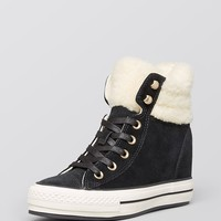 Converse Lace Up High Top Wedge Sneakers - Faux-Shearling