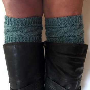 Dark Aqua Thirst Heather Boot Cuffs Cable Knit Boot Liners Toppers