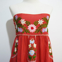 Mexican Hand Embroidered Cotton Strapless Sundress in Red