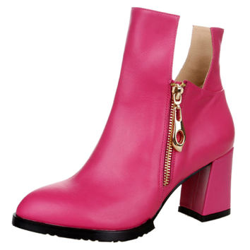 Pink Block Heeled Ankle Boots with Side Zipper - Choies.com