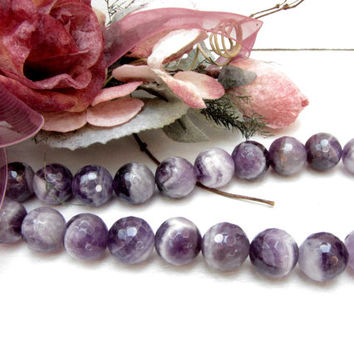 Cape Amethyst 12 mm Faceted Round  Bead 1 Strand 33 Beads Necklace Bracelet Earrings Jewelry Supply #B6