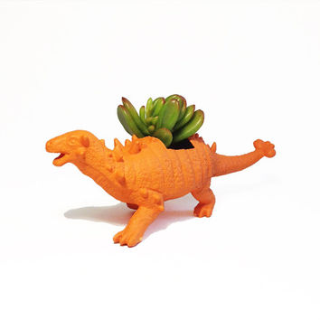 Up-cycled Orange Non-Gloss Ankylosaurus Dinosaur Planter