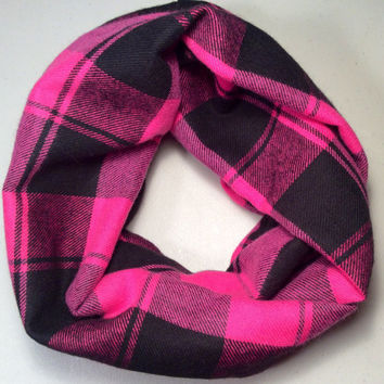 Handmade Infinity Scarf Plaid Flannel, Child, Kid Size, Double Layer.  Pink and Black - Christmas Holiday Gift