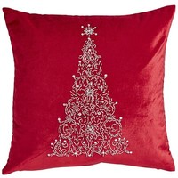 Red Beaded Tree Pillow$34.95