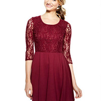 Long-Sleeve Lace Top Dress
