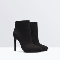High heel suede platform ankle boot