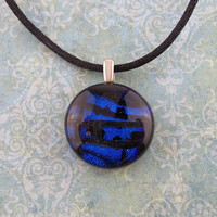 Royal Blue Pendant, Small Round Dichroic Necklace, Handmade Jewelry, Ready to Ship - Taji - 4773 -4