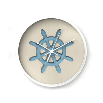 Nautical Wall Clock, shabby blue ships wheel on sand colored background, nautical decor, wall decor, nursery decor