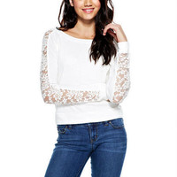 Super-Soft Lace-Sleeve Top