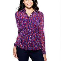Heart Print Chiffon Button-Down Shirt