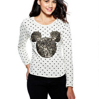 Allover Mickey Sequin Applique Long-Sleeve Top
