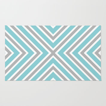 Blue Gray And White Stripes Area & Throw Rug by KCavender Designs
