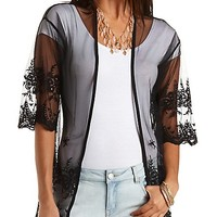 Embroidered Mesh Kimono Top by Charlotte Russe