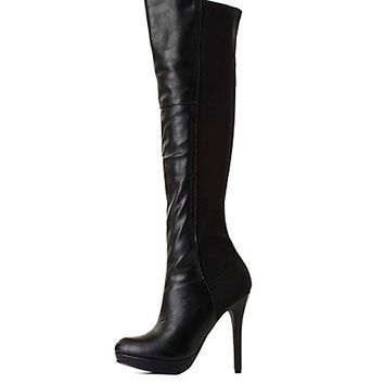 Stretchy Back High Heel Boots by Charlotte Russe - Black