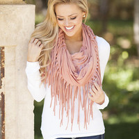 Fringed Infinity Scarf Peach