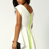 Maria Neon Zip Back Peplum Top