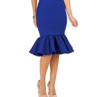Royal Ruffle Pencil Skirt