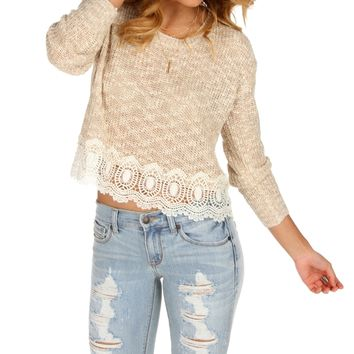 Taupe Crochet Crop Sweater