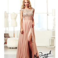 Mac Duggal 2014 Prom Dresses - Nude & Silver Chiffon Vintage Inspired Prom Gown