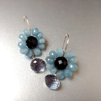 Onyx, blue topaz, aquamarine flower earrings, wire wrapped jewelry, handmade jewelry wire wrapped onyx, topaz aquamarine earrings