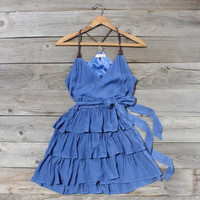Scattered Ruffles Dress in Lake Blue, Sweet Women's Country Clothing