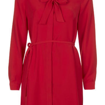 Pussybow Shirt Dress - Red