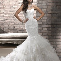 Gorgeous mermaid strapless sweetheart sweetheart beading white lace wedding dresses 2012 BAML0079