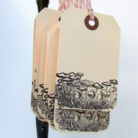 Fields of Fungi Gift Tags set of 10 by KisforCalligraphy on Etsy