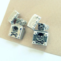 Halloween skull earrings -sterling silver metalwork earrings oxidized-unisex earrings-men studs