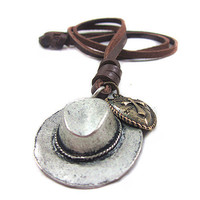 soft leather long necklace metal hat pendant men leather long necklace, women leather necklace  PL0237